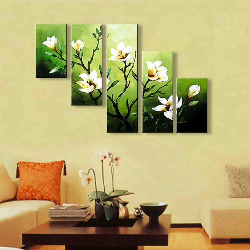 Hand Painted High Quality Abstract Oil Painting 5 Pcs Modern Camellia - Home Decor - Photo 4