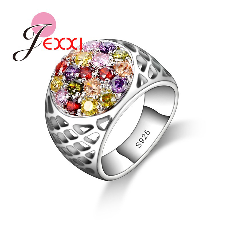 JEXXI Beautifull Gift For Women 925 Sterling Silver Elegant Rings Wholesale With Colorful CZ Engagement Ring Jewelry