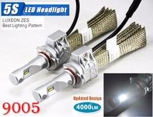1 Set 9005 HB3 50W 4000LM 5S LED Headlight Kit LUMILED LUXEON ZES 12LED SMD Chip Fanless 6500K Driving Fog Lamp Bulb HID Halogen