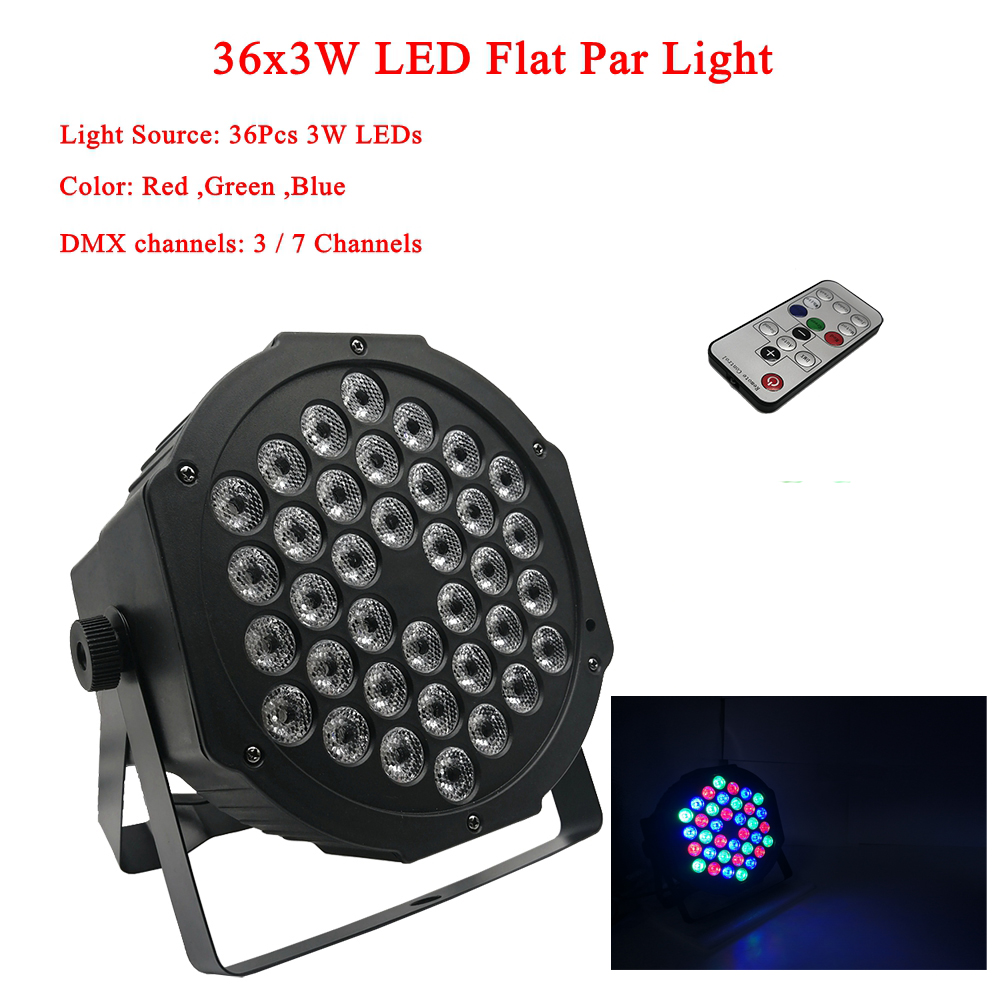 2019 New LED Flat Par 36x3W RGB Color Lighting Strobe DMX For Atmosphere Of Disco DJ Music Party Club Dance Floor BAR Darkening