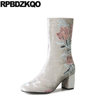 Designer Shoes Women Luxury 2018 Chunky Embroidered Sequin Flower Velvet Ankle High Heel Grey Boots Big Size Wine Red Embroidery