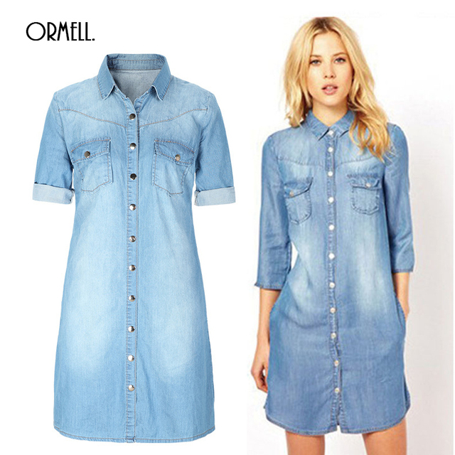 a354d12db4 2016 Summer Denim Dress Women Plus Size Three Quarter Sleeve Dress Blue  Denim Jeans Dress For Women Ladies Casual Party Dress