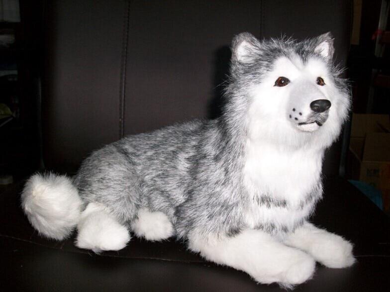 härlig simulering liggande husky leksaker hög kvalitet husky hund docka present docka ca 30cm