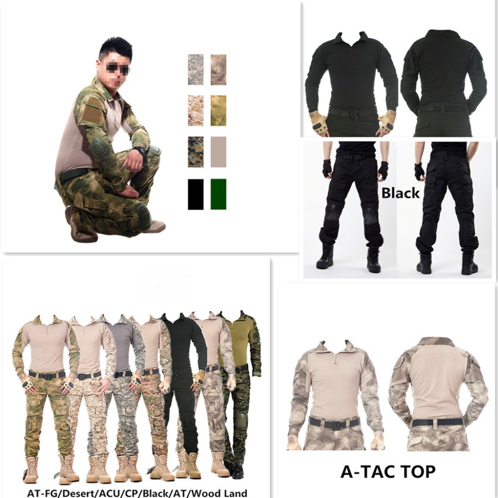 Camouflage tactical military clothing paintball army cargo pants combat trousers multicam militar tactical  shirt with knee pads sinairsoft camouflage military tactical uniform us army combat shirt only cargo multicam airsoft paintball with elbow pads