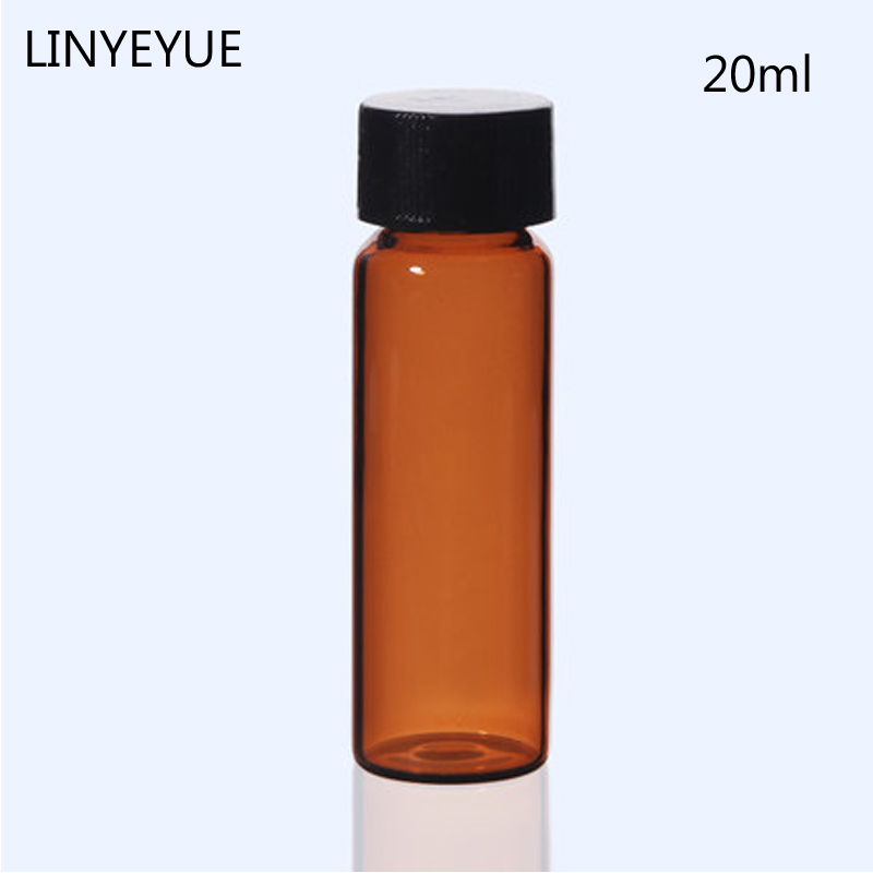 20ml Sample Bottle Essential Oil Vial With PE Inner Pad Screw Cap Glass Test Tube Chemistry Laboratory Bottle 10 Pieces/pack