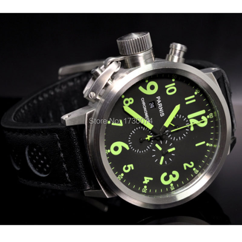 Parnis watch 50mm black dial Full chronograph date display green mark quartz movement  Mens watch P35Parnis watch 50mm black dial Full chronograph date display green mark quartz movement  Mens watch P35