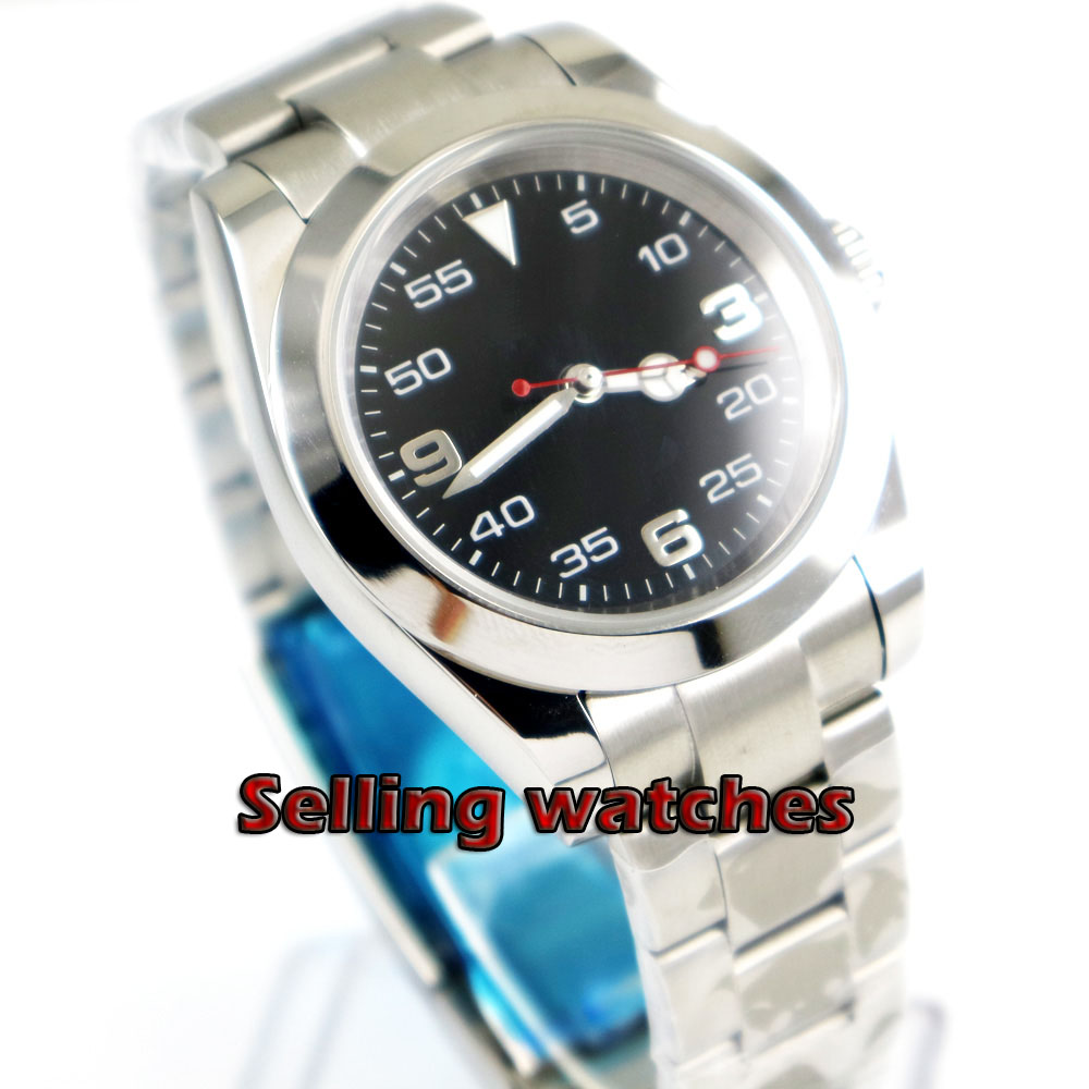 40mm BLIGER black dial luminous hand sapphire glass Automatic movement men s watch