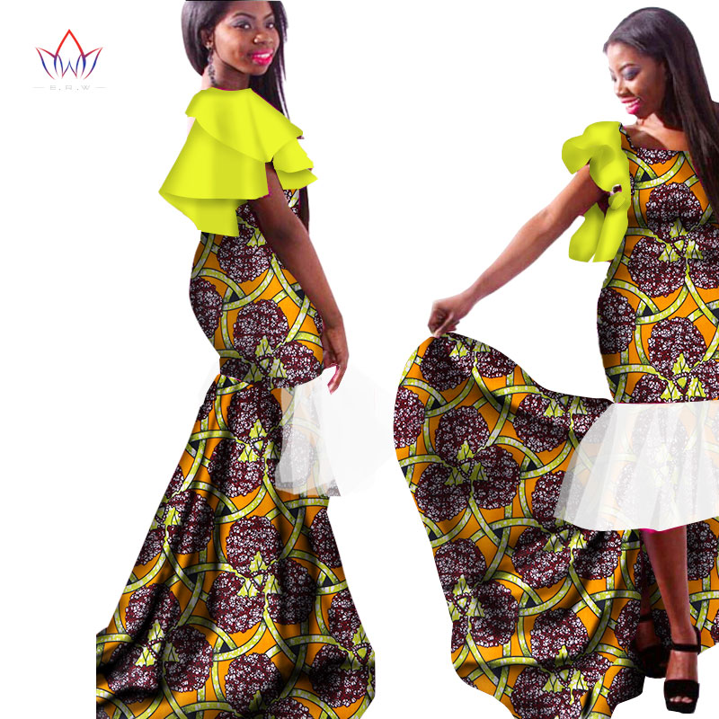New African Dresses for Women Bazin Riche Sexy Patchwork Puff Sleeve Mermaid Vestidos Dresses Ankara African Clothes WY1523 in Africa Clothing from Novelty Special Use