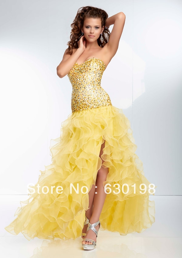 Yellow Mermaid Prom Dresses 2014 Sweetheart sequ...