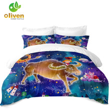 Kids Cartoon Bedding Set Colorful Taurus Constellation Duvet Cover Dreamlike Galaxy Print Girls Bedclothes 3Pcs D30