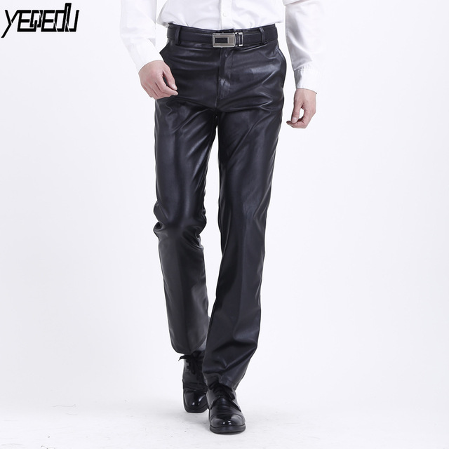 050076e6b30  2223 2018 Summer Waterproof Loose Stretch PU Faux Leather Pants Men  Straight Fashion Thin Black PU Trousers Men Plus Size