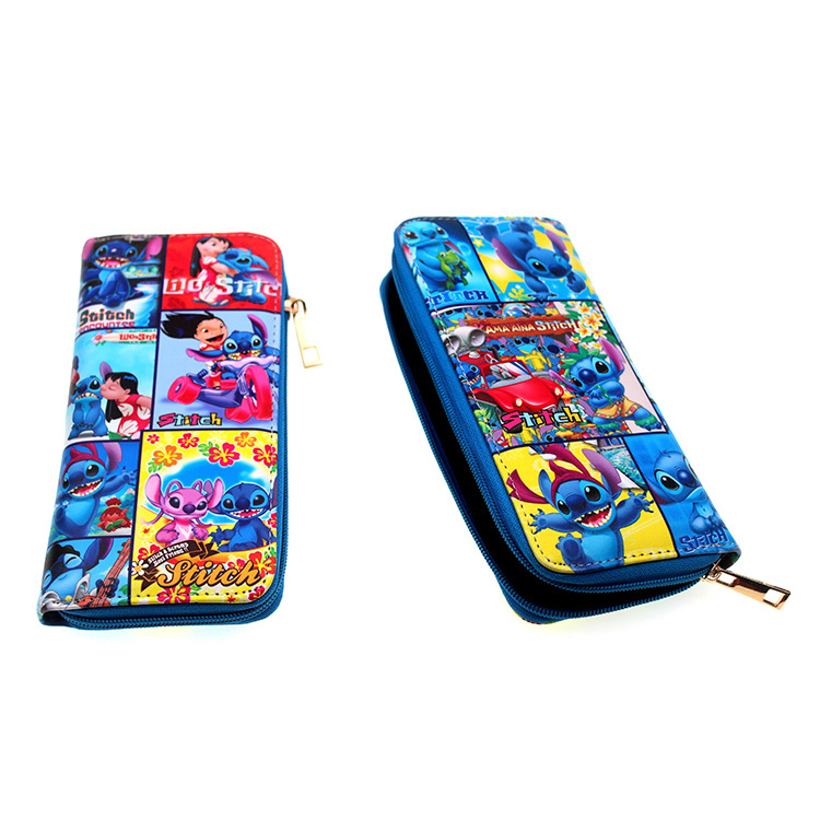 Purses Wallets Phone-Bag Lilo-Stitch Card-Holder Hasp Pocket Money-Coin Unisex Long Plaid