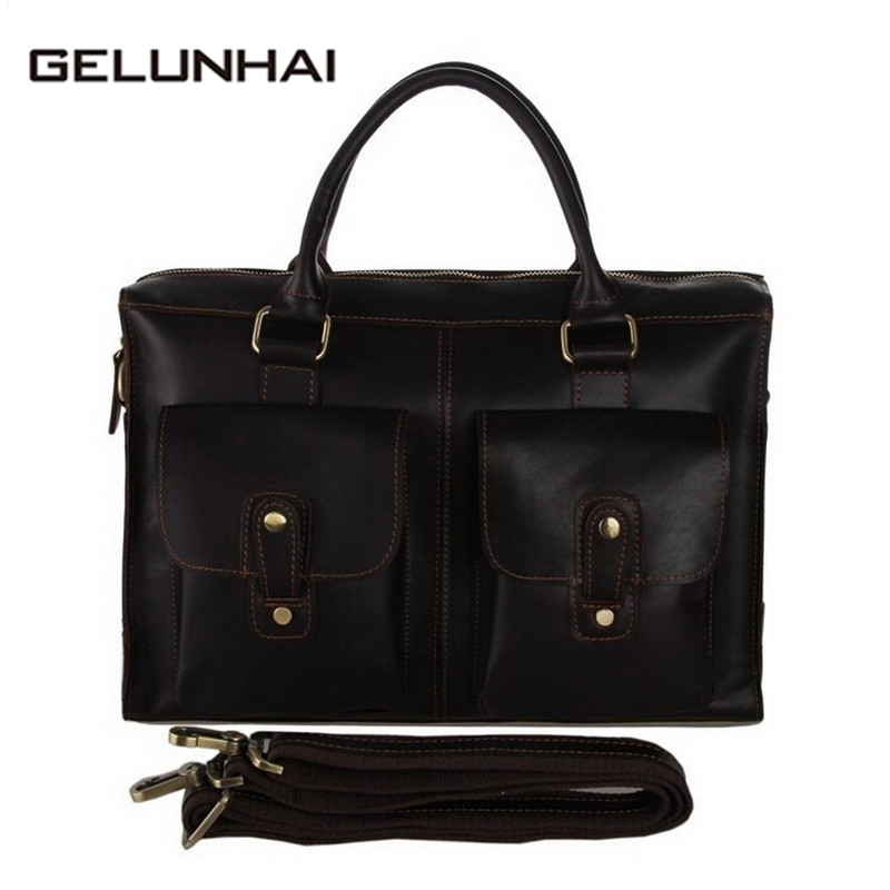 2017 Special Offer Top Zipper Shoulder Bags Cotton 100% Genuine Leather Men Handbag Men's Briefcase Laptop Crossbody Shoulder