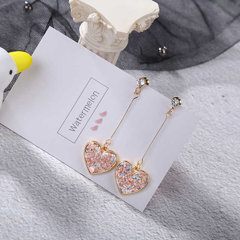 fashion sweet sequins love long earrings for Women Korean Minimalist Earrings Jewelry Accessories wholesale