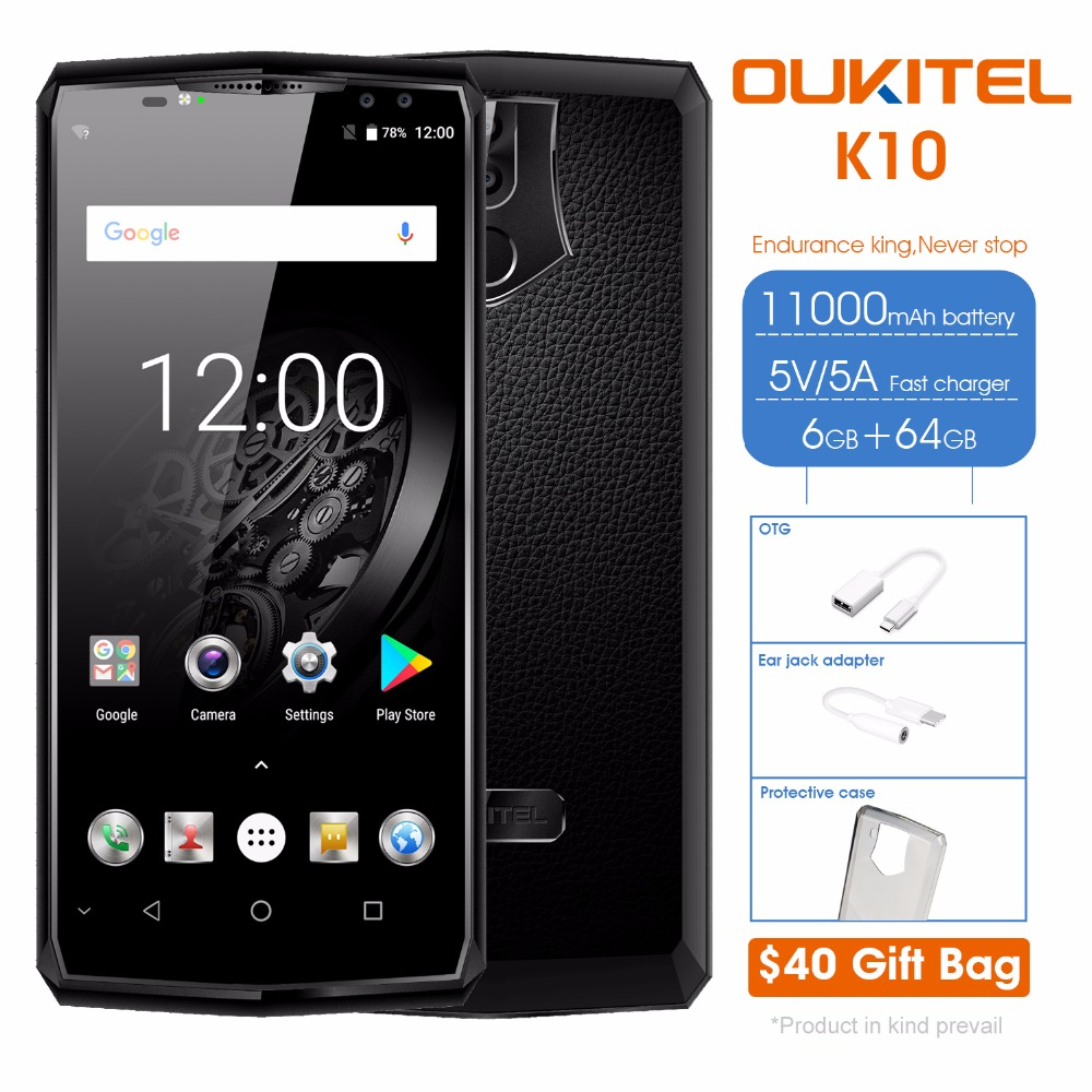 Oukitel K10 6GB RAM 64GB ROM Mobile Phone 6.0FHD 18:9 Full Display 11000mAh Flash Charger MTK6763 Fingerprint Face ID NFC 4G