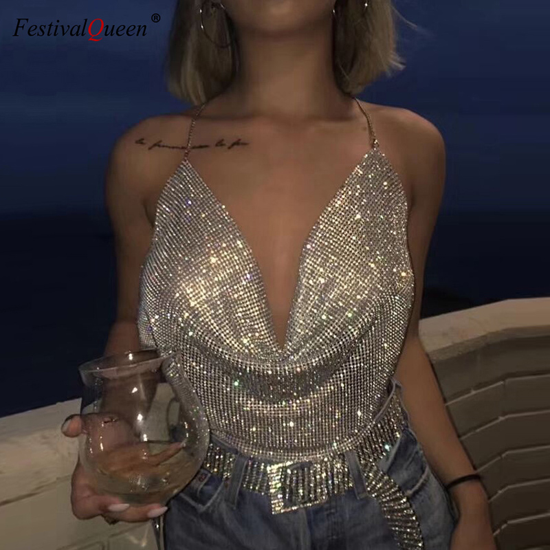 FestivalQueen Brilliant Rhinestone Backless Party Crop Top Women 2019 Summer Deep V Neck Night Club Diamonds Metal Tank Tops