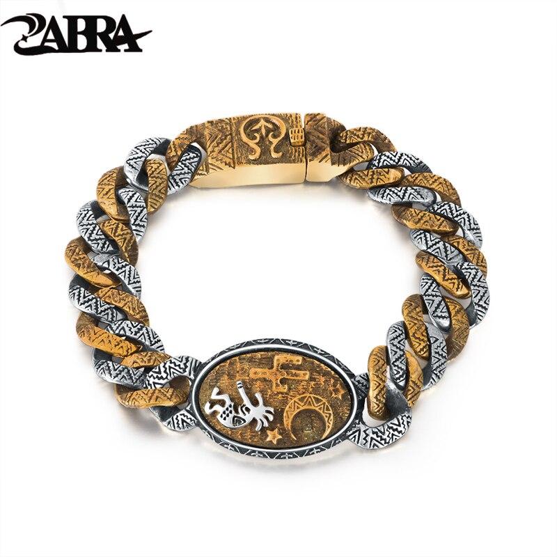 Male Sterling Silver Bracelet Designed With Indian Stamp Vintage Domineering Bracelet Bangle Punk 925 Silver Religion