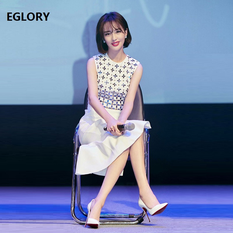New Celebrity Inspired Women Dresses 2019 Spring Style Ladies O Neck Diamond Beading Split Sleeveless Midi Pencil Dress Office