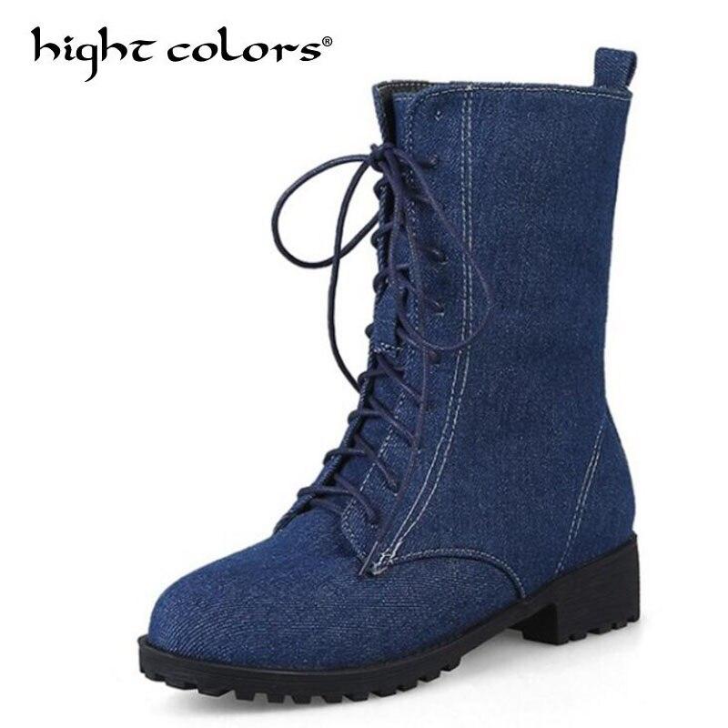 Denim Martin Noir Causalité Rond Femmes Bottes Blue light Chaussures Cheville Bout Blue Plat Mode Pour Black Lacent Haute Punk De dark Vintage Rue 4qgSI4