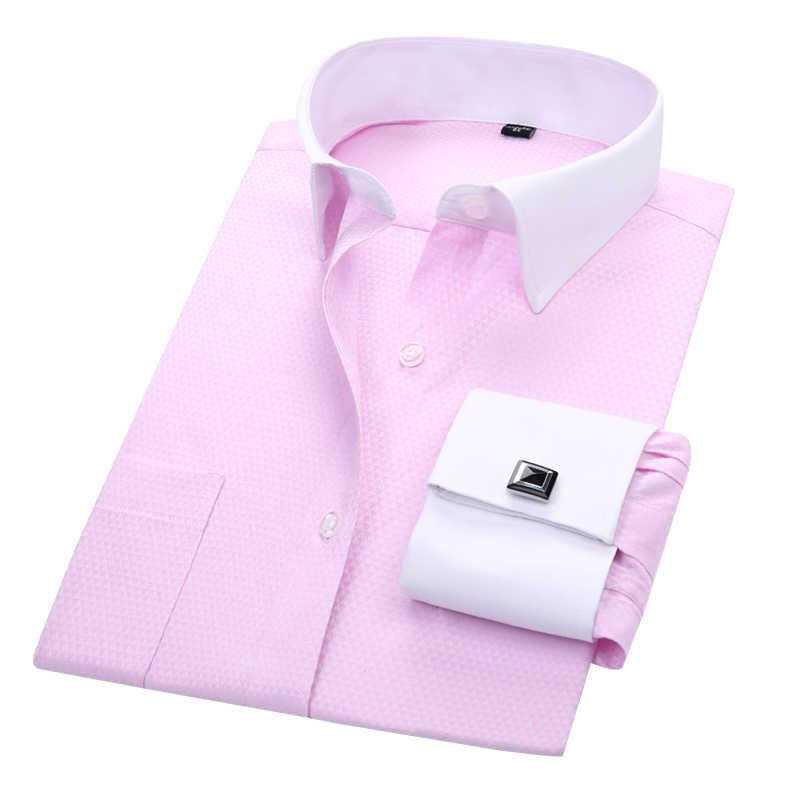 32c1b99298dff DAVYDAISY 2019 New Arrival French Cuff Men's Shirt White Dress Shirt Long  Sleeved Man Formal Solid Man camisa masculin DS190