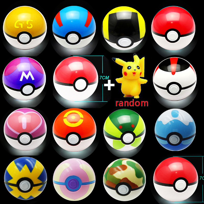 13 Färg Barn Toy Ball 1pc Pokeball med 1pc Gratis Slumpmässig Figur Anime Action Siffror Barnleksaker