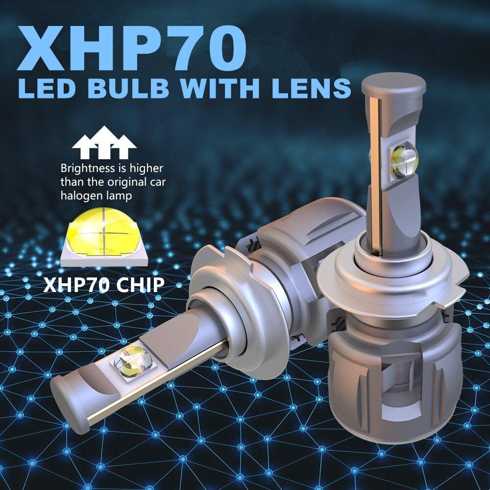 Xenplus 2pcs Auto d2s XHP70 Chip LED Koplamp Lamp h4 H7 H8 H9 H11 H13 hb3 9004 9005 9006 9007 Super Heldere meest krachtige 55W - 2