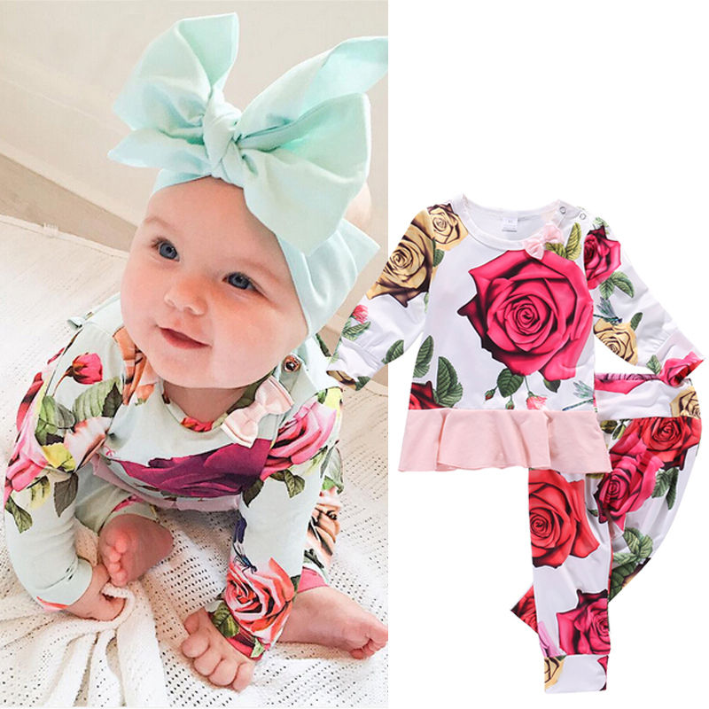 HOT SALE 2PCS Floral Baby Girls Long Sleeve T-shirt + Pants Leggings Outfits Clothes Set , Floral Tops # Floral Pants , 0-6 Mo