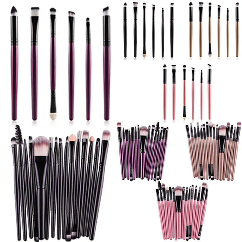 Professional 15Pcs Cosmetic Makeup Brush Women Foundation Eyeshadow Eyeliner Lip Make Up Eye Brushes Set HS11 lcbox professional 40pcs cosmetic makeup brushes set blusher eyeshadow powder foundation eyebrow lip make up brush with bag