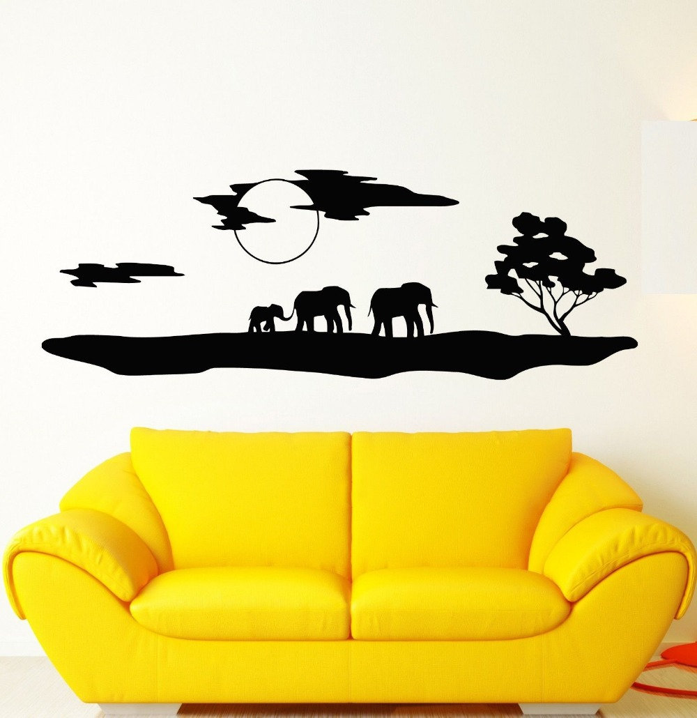 2015 New Arrival African Animal Wall Decal Safari Elephants Landscape  Nature Tree Mural Art Wall Sticker Home Decoration In Wall Stickers From  Home U0026 Garden ...