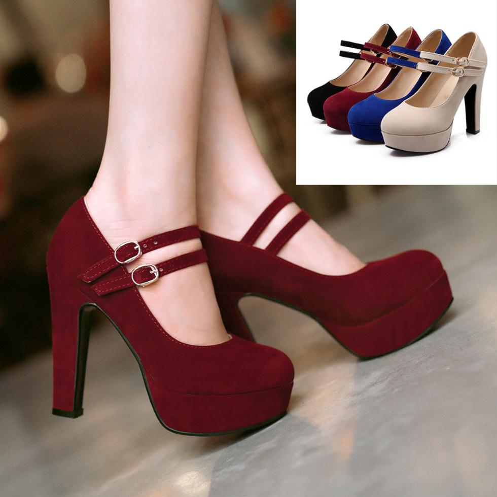 Women's Platform Mary Jane High Heel Pumps Shoes
