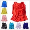 Ropa de niño conjunto de seda de seda de color sólido chaleco del bebé pantalones cortos ropa para niños