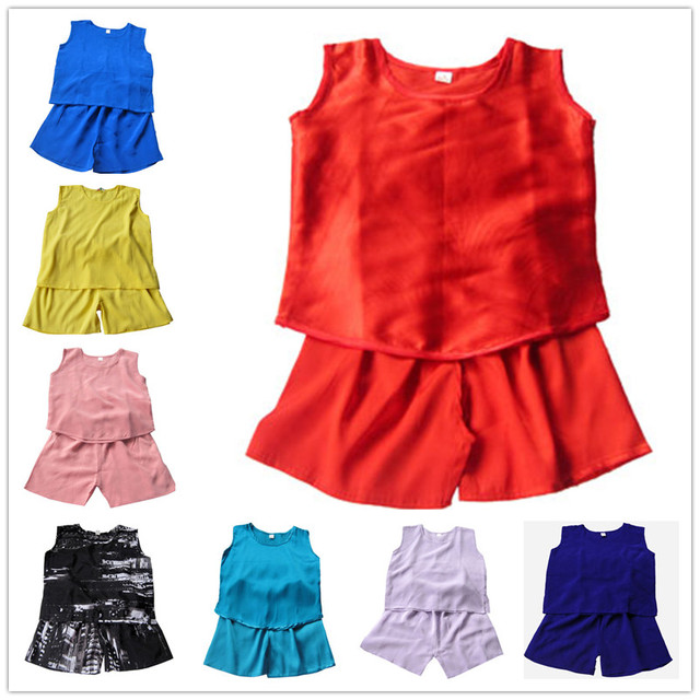 Vestuário infantil conjunto de seda cor sólida seda colete de verão das crianças do bebê calças curtas roupas