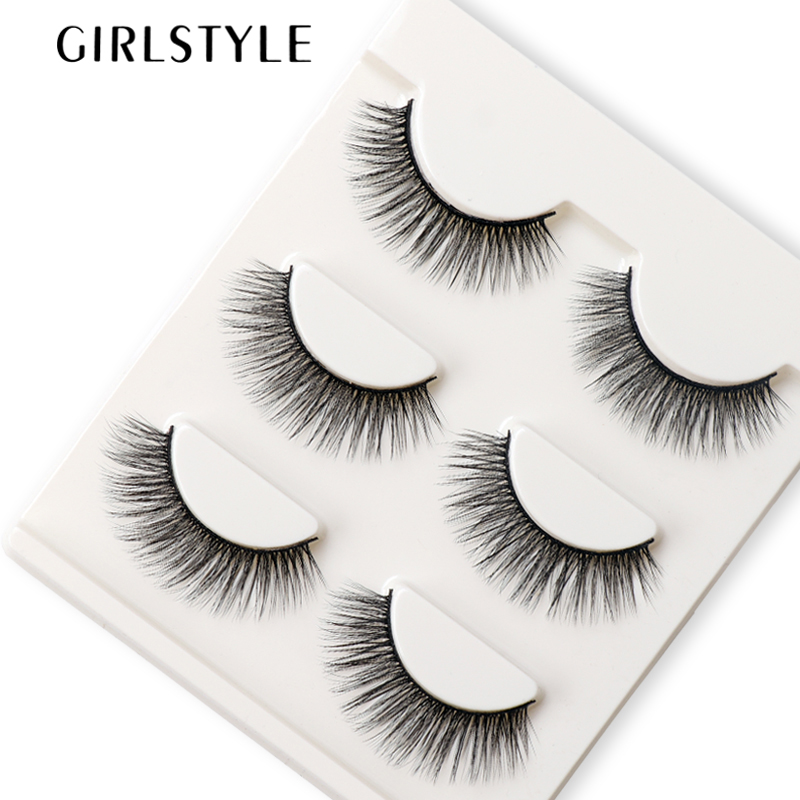 GIRLSTYLE 3D Fake Eyelashes Long Natural Extention Thick Black Curling 3pairs/set