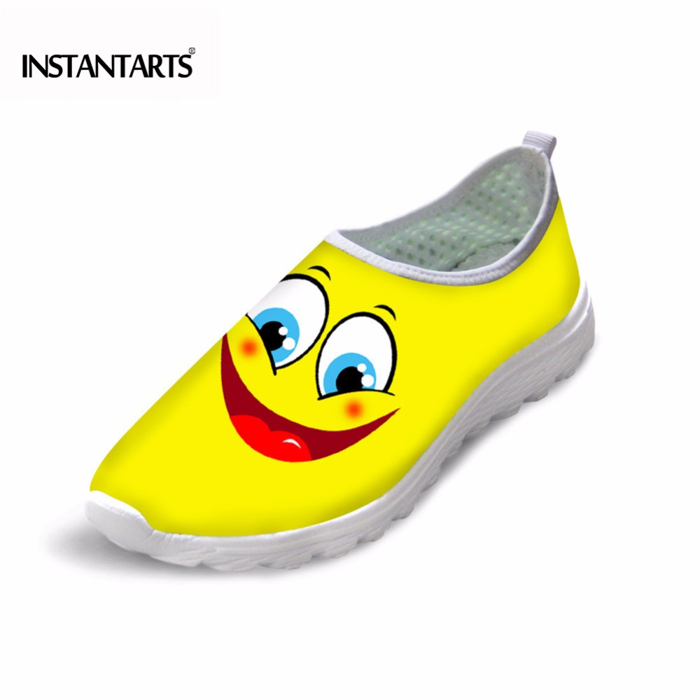 INSTANTARTS Women Flats Emoji Face Smile Pattern Summer Air Mesh Beach Flat Shoes for Youth Girls Mujer Casual Light Sneakers instantarts cute poodle dog pattern sneakers women s casual flats air mesh walking shoes ladies student outside shoes zapatos