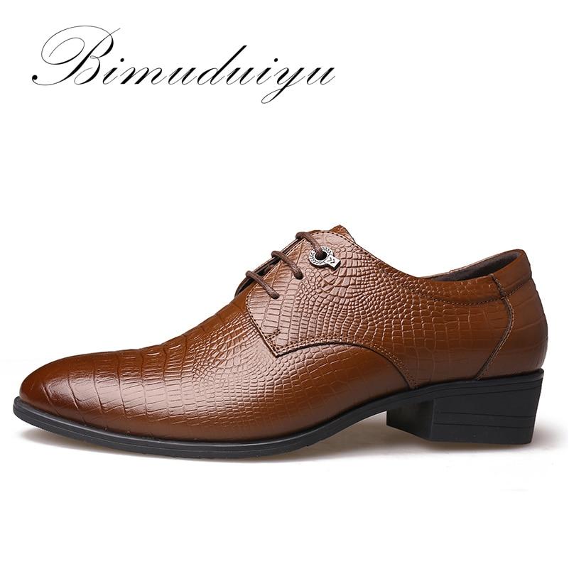 BIMUDUIYU Krokodil Stil Männer Business Kleid Schuhe Aus Echtem - Herrenschuhe - Foto 2