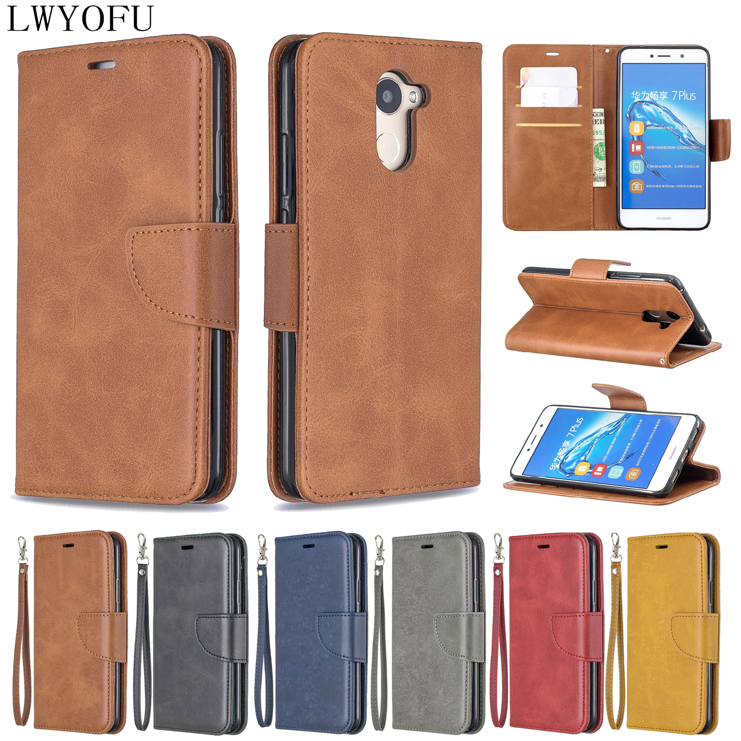 Glory leather flip holster for Huawei Honor 8A 10i 10Lite 8C 7A 7C 7X 6C mat PSMART 2019 mobile phone case