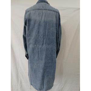 Image 5 - Kadın yırtık delik kot ceket 2018 erkek arkadaşı rüzgar Jean ceket gevşek uzun kollu palto artı boyutu 3XL bombacı ceket bahar sonbahar