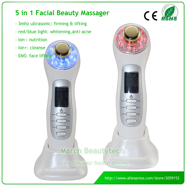 Portable Home Use Beauty Spa Skin Tightening Acne Remove 3MHZ Ultrasonic Photon Galvanic Ion Facial Massager набор крем levissime home spa facial pack