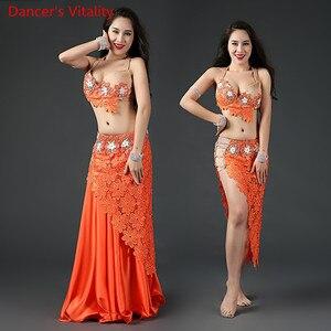 Image 2 - Kadın oryantal dans giyim oryantal dans elbise oryantal dans kıyafetleri sutyen + dantel kısa etek + uzun etek + külot 4 adet Set