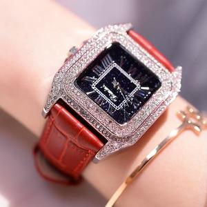 Image 2 - 2019 moda marka kadınlar kare bilezik saatler bayanlar en lüks deri kayış taklidi quartz saat yeni kadın Casual saat