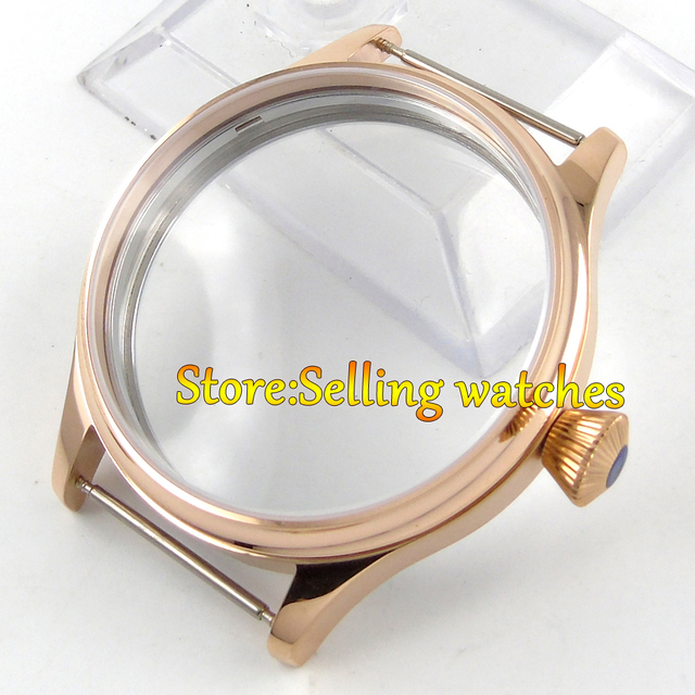 44mm 316L steel screw back rose golden plated CASE fit 6498 6497 movement