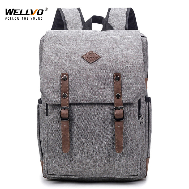 Wellvo Men's Canvas Patchwork Backpacks School Bag Large Capacity Laptop Shoulder Travel Bags For Male Mochila Escolar XA70WC wellvo men canvas laptop backpack large black school bag for teenage boys students notebook backpacks travel bags mochila xa38c