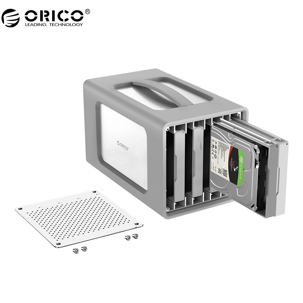 ORICO 4 Bay Aluminum Alloy Type-C Hard Drive Enclosure 3.5Inch Hard Drive Case With Raid And Silicone Cover Support 40TB Storage orico 9528ru3 dual bay 3 5 usb3 0 sata hard drive enclosure with raid
