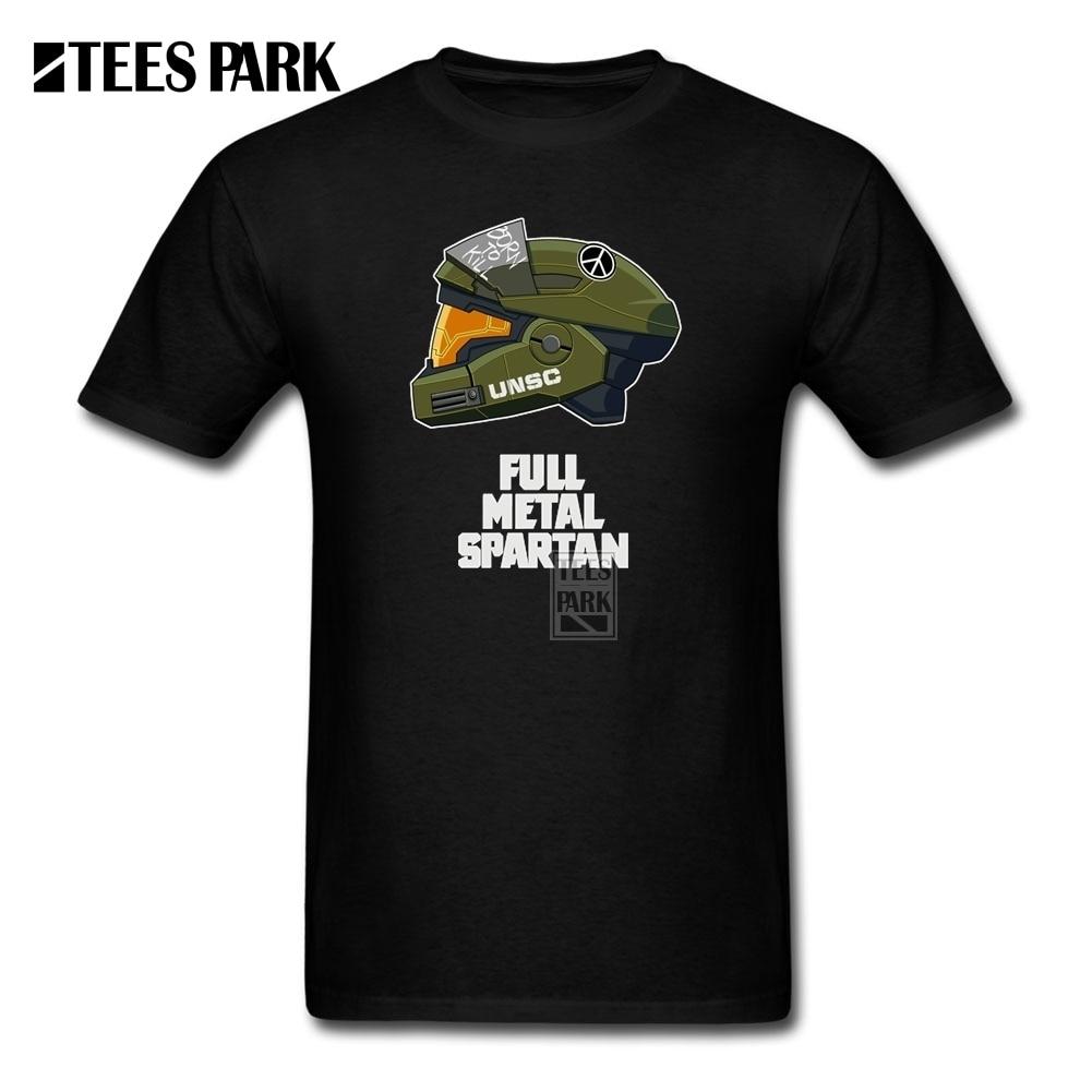 Desain t shirt kerah - Desain Tshirt Online Full Metal Spartan Homem Putaran Kerah Kemeja Baru Kedatangan Lengan Pendek Mens T