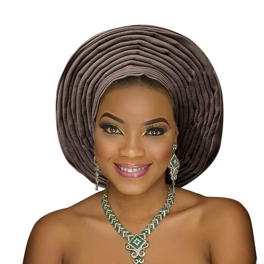 Traditional aso oke gele african headtie aso ebi head wrap for woman african turban headband already tied (16)