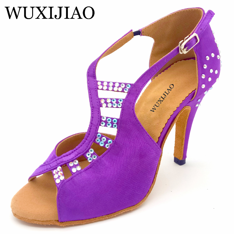WUXIJIAO Women New Latin Dance Shoes Sals purple/Black Unique Tailoring Design Satin Shoes For Ballroom Dancing Rhinestone Tango