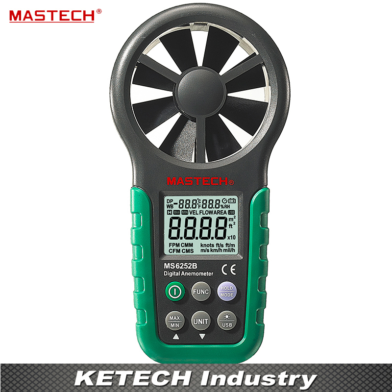 Multifunction Anemometer Digital Tachometer Air Volume Thermometer Humidity MS6252B victor dm6235p digital tachometer