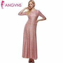 ANGVNS Party Long Formal Dress Elegant Office Lady 2017 Summer Spring Sexy Vestidos 3/4 Sleeve Maxi Lace Dresses Women de festa