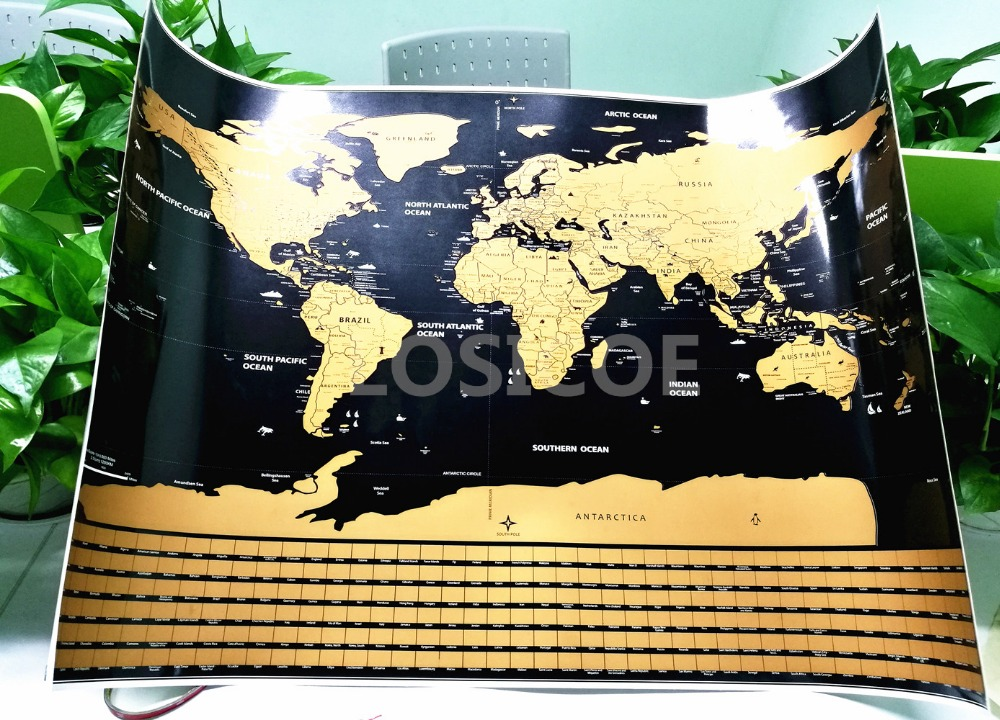 World Map With Flags US States Travel maps posters wall art sticker dropshipping in Wall Stickers from Home Garden