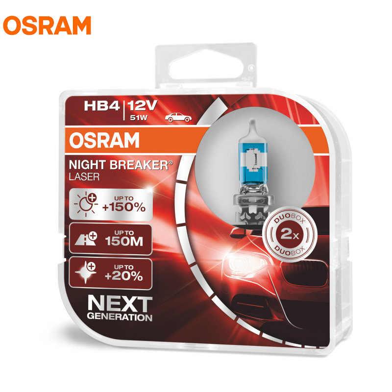 OSRAM H1 H3 H4 H7 H8 H11 9005 9006 12V Night Breaker Laser Next Generation Car Halogen Headlight Fog Lamp +150% Brightness, 2X